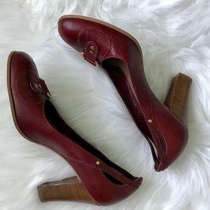 Franco Sarto Shoes - Franco Sarto Burgundy Chunky Heel Shoes Round Toe